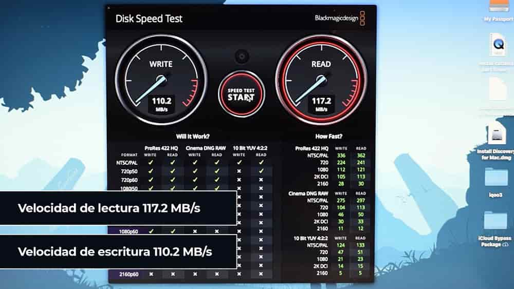 BlackMagic Disk Speed Test para el WD My Passport
